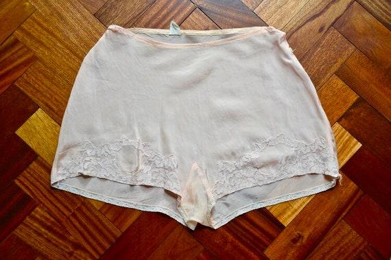 1930s peach-pink rayon tap pants. Medium.