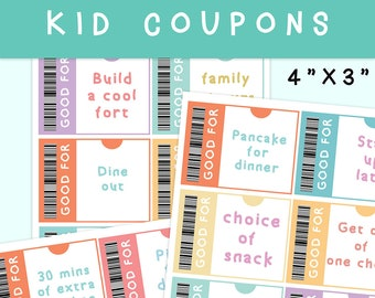 "Kids Reward Coupon, 3""X4"",  kid coupons, kid coupon book, stay home kid chores coupons, homeschool coupon, teacher coupon, printable coupon"