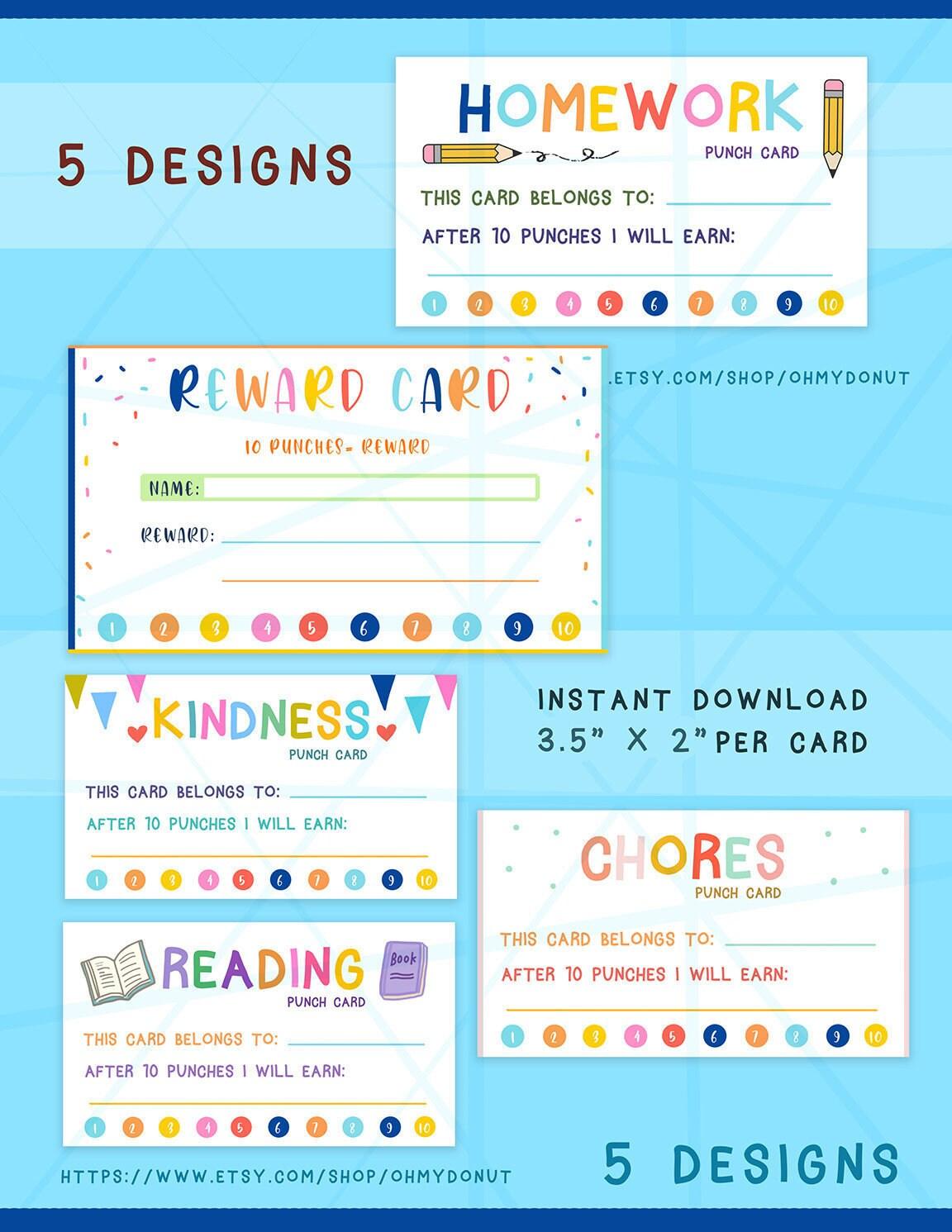Colorful Reward Punch Card, Punch Card Reward System, Coupon for Rewards,  kid reward card, kindness card, chores card, homework card Inside Reward Punch Card Template