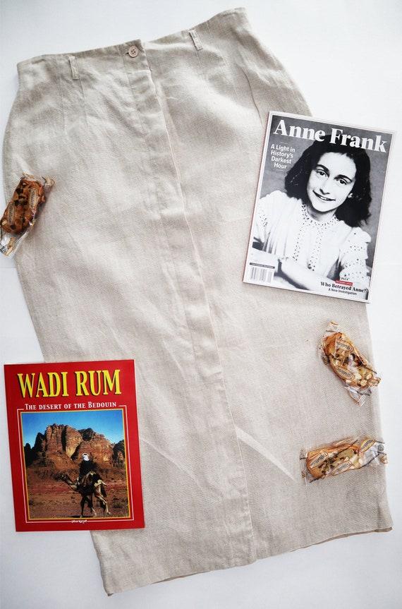 1990s Beige Linen Skirt/ High Waist Talbots Skirt/