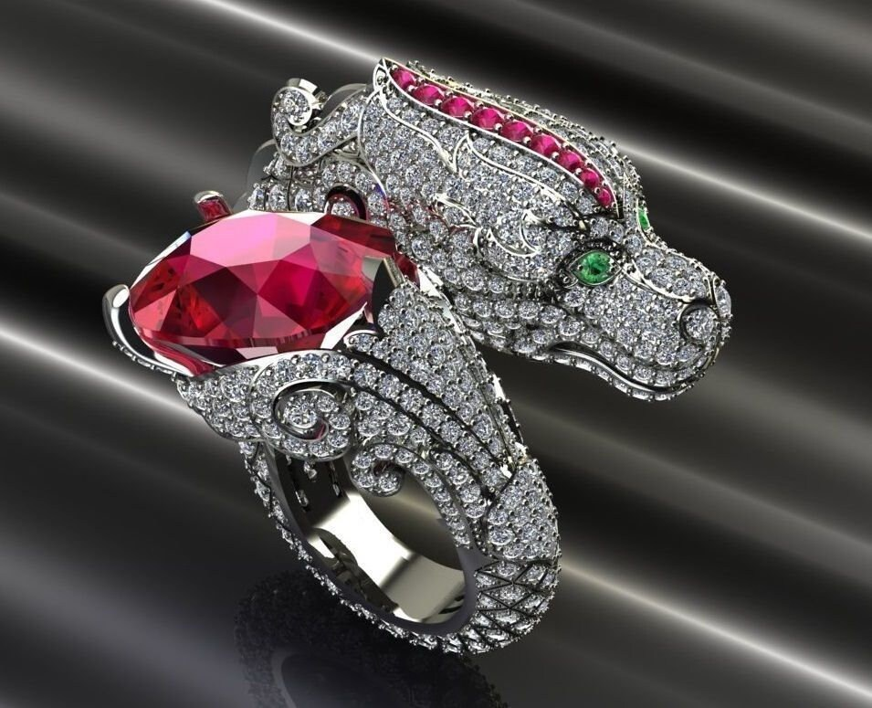 10ct dragon ring sterling silver ring for women image 0