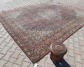 oversize rug- red antique rug- 9.45 X 12.83 feet- Area Rug- Pale Color Rug-Saloon Rug-Distressed Rug-Vintage Home Decor- big heriz rug