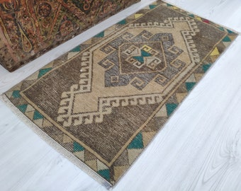 Neutral mini turkish small rug Pale color mini rugs 1 BY 3 Neutral natural doormat Distressed vintage home decor carpet 1.64x3.40 feet