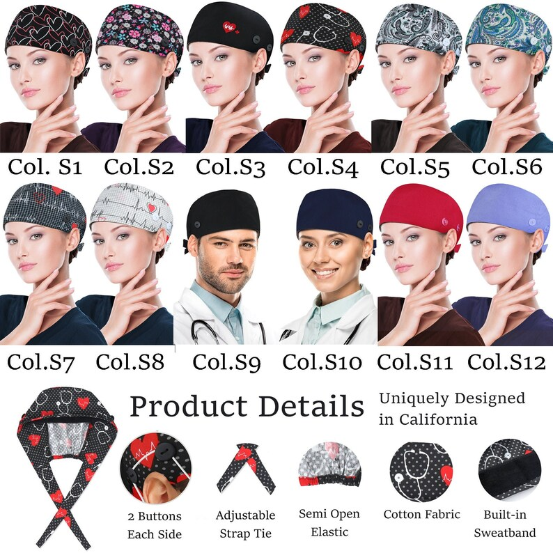 unisex scrub caps with buttons  sweatband and tieback image 0