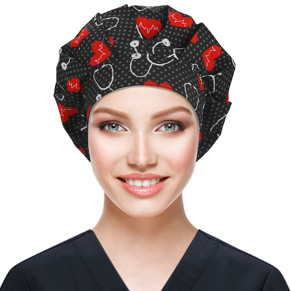 Exceart 2Pcs Surgical Scrub Cap Medical Doctor Nurse Bouffant Hat with Sweatband for Womens Mens