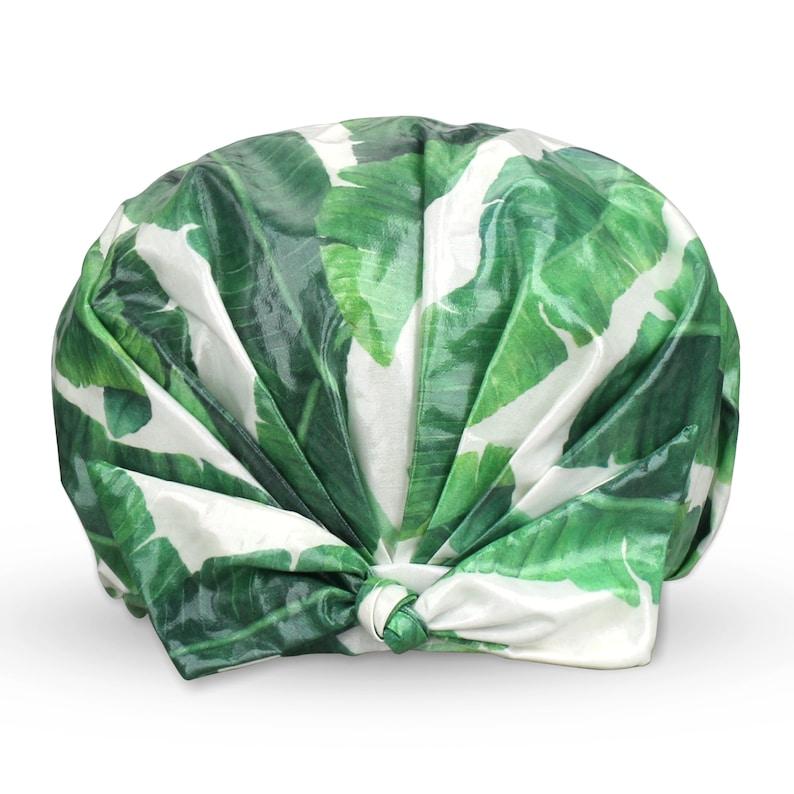 waterproof shower cap  designer reusable shower caps  turban green leaf turban