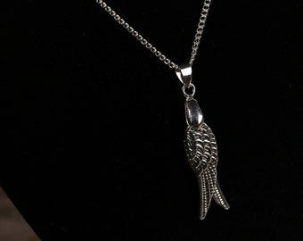 Detailed Double-Sided Silver Wing Pendants Hung on Bright Silver Curb Chain with Feather Pendant Angel Jewelry Pair of Wings Necklace