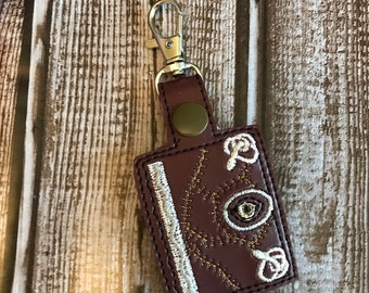 Tiny Book of Shadows Keychain Leather Pentagram lbos-1030