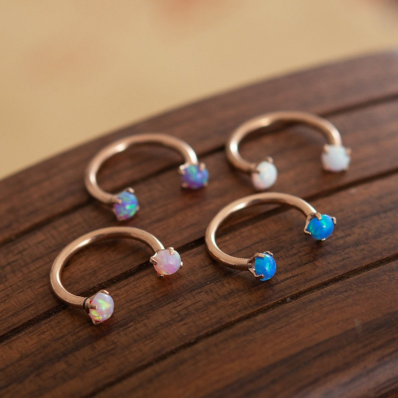 Opal Daith Earring Septum Ring Tragus Horseshoe Hoop image 0
