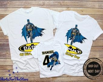 BATMAN #9 Personalized BIRTHDAY T-SHIRT Any Name /& Age Printed SUPER HERO