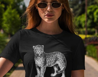 Moon Mouse Apparel Wild Forest Cat Unisex Adult Printed Cotton Crew T Shirt