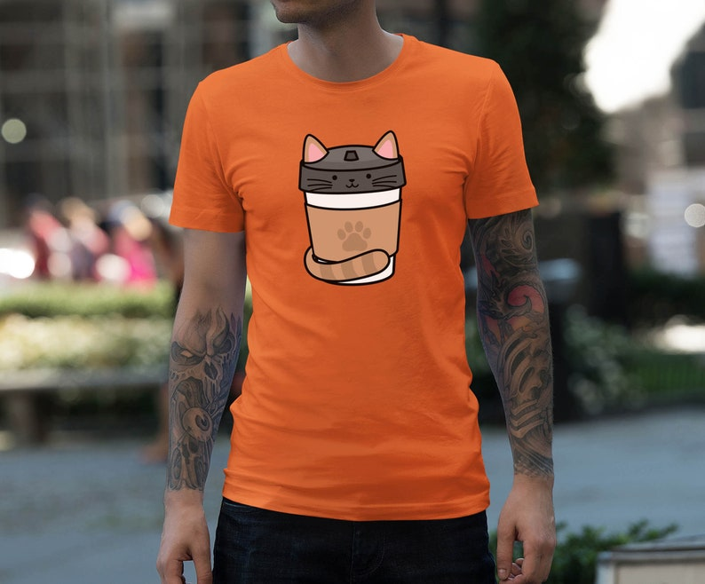 Moon Mouse Apparel Coffee Caf\u00e9 Cat Unisex Adult Printed Cotton Crew T Shirt