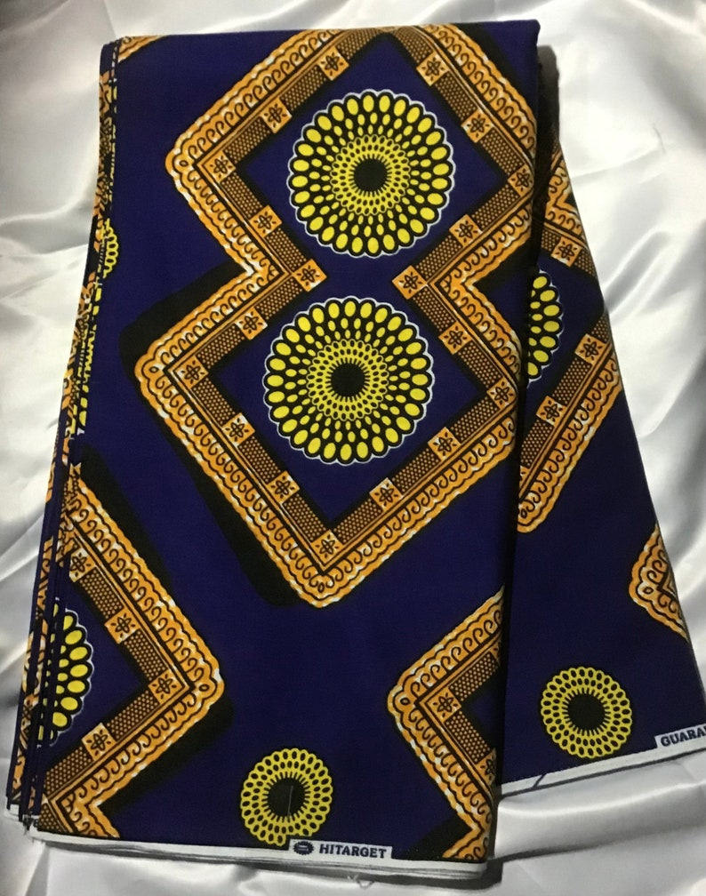 yellow navy blue abstract wholesale available African Print Fabric