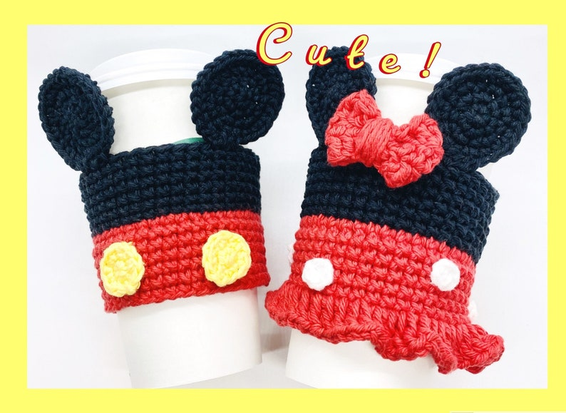 Crochet Coffee Cozy Pattern Mickey Minnie Mouse Inspired image 0
