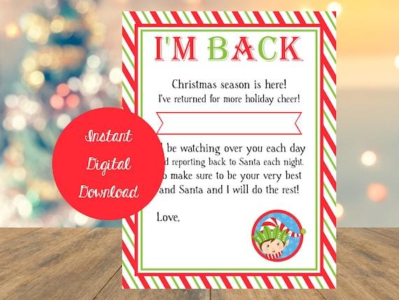 Elf Letter I'm Back Elf Letter Shelf Elf Letter Instant