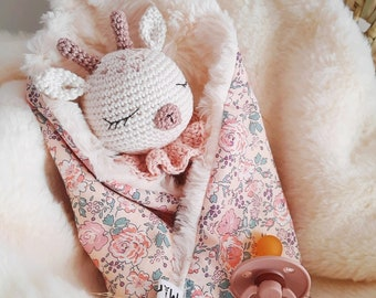 Penelope and Ulysses. Doudou baby bunny plush awakening handmade crochet birth gift