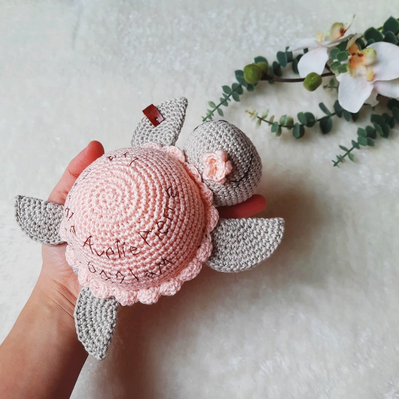 Amigurumi Turtle with Flower bow Baby shower gift Christmas gift Newborn Personalized  Crochet Toys Announcement Photoprops Pregnancy