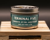 Terminal Five Scented Candle - Free Shipping | Soy Candles | Plant Based | Cinnamon Rolls | Jet Fuel | Novelty Candles| | Airports