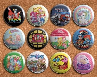 80s Retro Nostalgia Cartoons 1.75 inch - Pinback Button or Magnet
