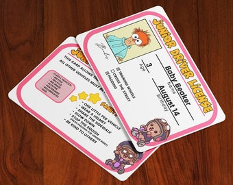 Junior Drivers License - Custom ID Card - - (ABDL, Little Space, Kiddos, Child) (Permit, Badge, Prop, Cosplay, Pretend, Playtime)