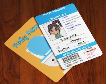 ABDL Potty Pass - Custom ID Card - - (Adult Baby, Little Space, Kiddos, Child) (Permit, Badge, Prop, Cosplay, Pretend, Playtime)