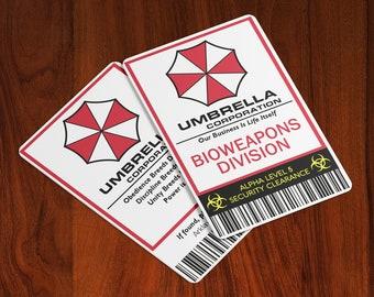 Resident Evil Umbrella Corporation Bioweapons Division - Cosplay ID Badge