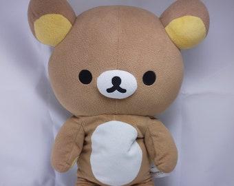"Rilakkuma 15"" Large Zipper Plush - Official San -X Plushie - Teddy Bear, Zipper Back, Zipper Pouch, Japan Stuffed Animal, Japanese Bear Toy"