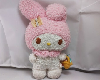 """My Melody 7"""" Plush w/ Flower Basket & Butterfly - Official Sanrio Smiles Plushie - Hello Kitty Friends, Fluffy Plushie, Soft Stuffed Animal"""