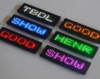 LED Badge Bluetooth and PC Programmable - White, Red, Orange, Green, and Pink Colors