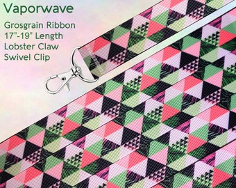 Vaporwave Lanyard Clip - Lobster Claw Swivel Clasp - Electronic Art Pop Futurism Ribbon