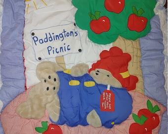 Vintage Paddington Bear's Picnic Crib Cover - Nursery Room Blanket, Crib Blanket, Quilted Blanket, Infant Quilt, Baby Blanket, Crib Bedding