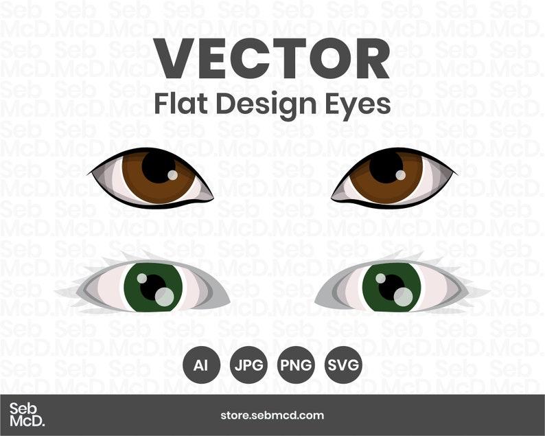 Vector Flat Design Eyes  Adobe Illustrator file  JPG PNG image 0