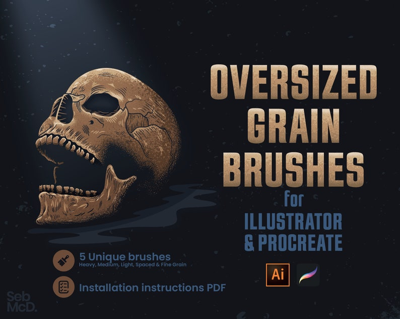5 Procreate Brushes & 5 Illustrator Brushes  Grain Gouache image 0