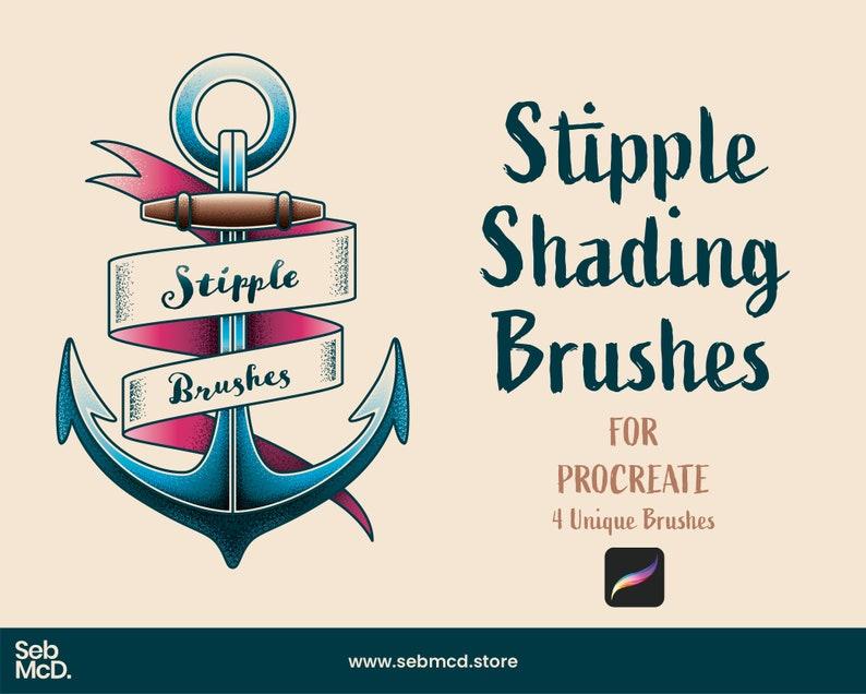 4 Procreate Brushes 4 Unique Brushes  Stipple Shading image 0