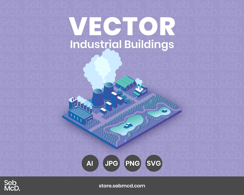 Isometric Industrial Buildings    Illustrator  JPG PNG SVG image 0