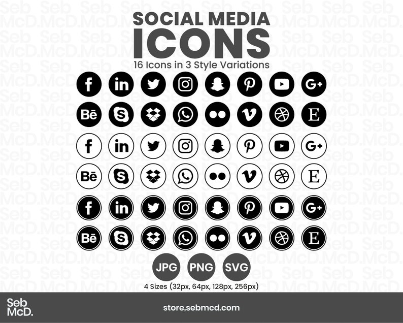 16 Black & White Social Media Icons  3 Style Variations  4 image 0