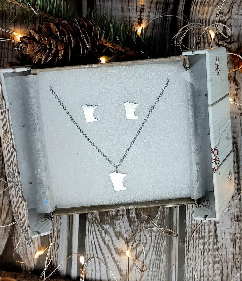 Minnesota earrings Minnesota state jewelry set MN charm necklace