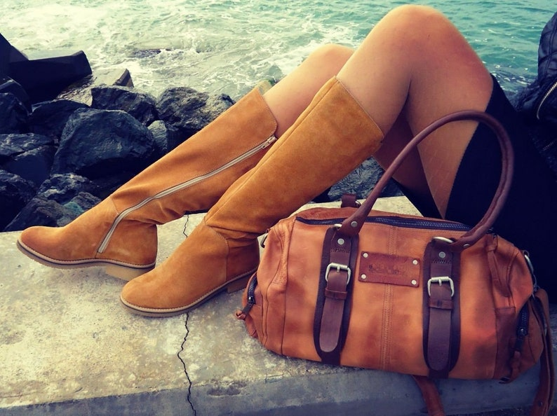 Women knee high slouch boots genuine leather fall autumn wolking zip boots