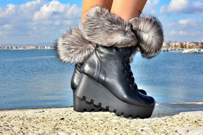 Women real fox fur decoratiom military wedges ankle boots genuine leather fall autumn winter women snow boots hand made sneaker boots