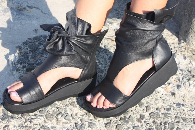 Women peep toe summer wedges sandals sneaker boots summer cut out peep toe summer ankle boots genuine leathercan be made all colors