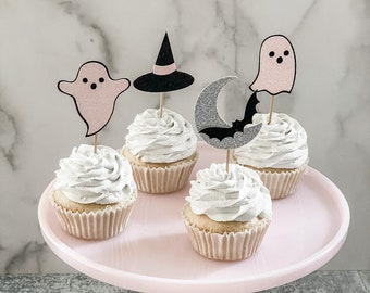 Pastel Halloween Cupcake Toppers, Modern Pastel Pink Halloween Decor, Pink Gray Black, hocus Pocus party, ghost cupcake toppers.