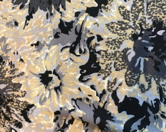 Stretch Mesh Dress Fabric Abstract Floral Grey Black