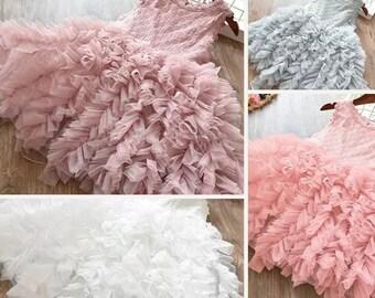 Girls dusty pink tulle dress 3/4 T, toddler girl white summer party dress-,pink flower girl dress, kids tulle grey dress, girls formal dress