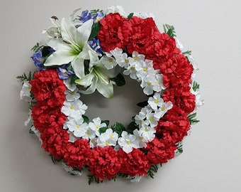 Artificial Red Carnation Wreath