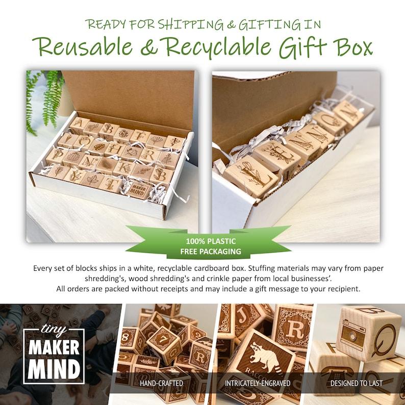 Wooden Blocks Kids Birthday Gift Set of 26 Floral ABC Animal Blocks Montessori Toys Wooden Decor Gifts for Baby Alphabet Blocks
