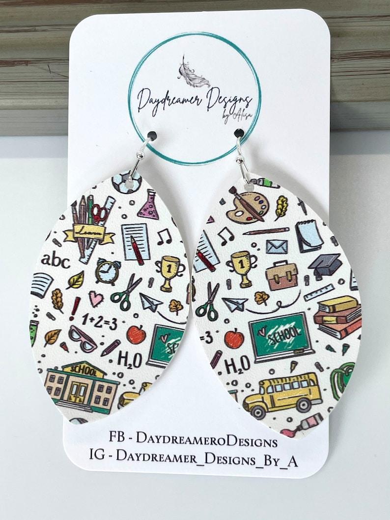 School Days Back to School Teacher Faux Leather Earrings image 0