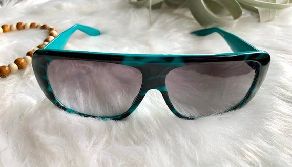 Vintage 1980s Neon Bright Teal Blue Black Sunglas… - image 3