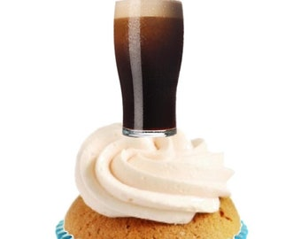 12 PRE CUT 'FRESH BEER' EDIBLE RICE PAPER WAFER CARD BIRTHDAY CUPCAKE TOPPERS