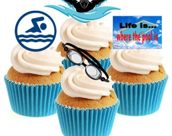 Cupcake Toppers Pool personalised Rice paper Icing sheet 857