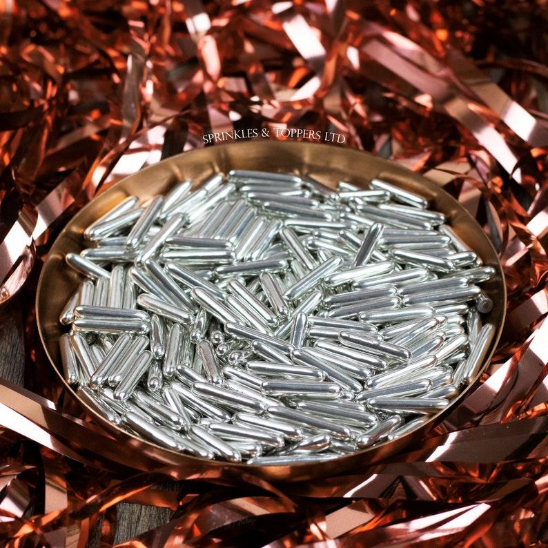 20mm Sprinkles Cupcake  Cake Decorations Silver Metallic Macaroni Rods